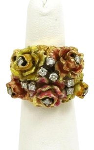 Roberto Coin Vintage 18k Yellow Gold Diamonds Enamel Floral Heavy Ring - 5.75