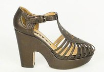 Rochas Yosemite Bronze Leather Platform Mary Jane Heels39eu Dark Brown Pumps