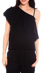 Rodebjer One Shoulder Twill Asymmetric Top Black