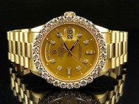 Rolex 18k Mens Yellow Gold Rolex Presidential Day-date 36mm Prong Diamond Watch Ct