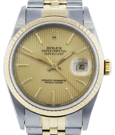 Rolex 18K Yellow Gold Stainless Steel Datejust 36mm Men's Watch