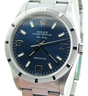 Rolex 2000s Mens Rolex Stainless Steel Air-king Watch Oyster Blue Arabic 14010m