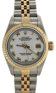 Rolex Ladies,Rolex,Datejust,Stainless,Steel,18k,Gold,Two,Tone,White,Roman,69173,Watch