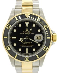 Rolex Authentic Rolex Submariner 16613 18k Gold Two Tone Engraved Black Dive Watch Box