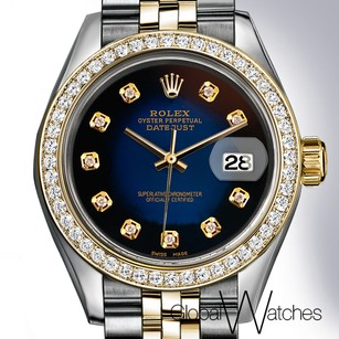 Rolex Black + Blue Faded Rolex w Genuine Diamonds Datejust 26MM 2Tone 18K