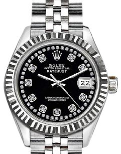 Rolex Rolex Black Ladies 26mm Datejust with Diamond Dial Watch