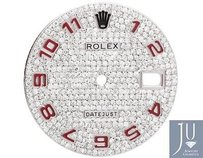Rolex Custom Full Pave Set Red Numeric Diamond Dial For Rolex Datejust 1 36mm Watch