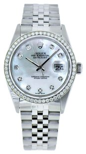 Rolex Datejust 36mm Stainless Steel White MOP Diamond Bezel Watch 1.25 Ct
