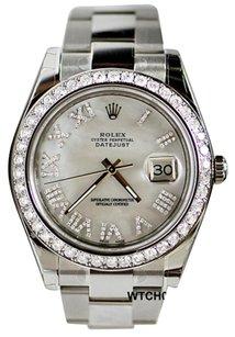 Rolex DateJust II Diamond Dial Bezel Men 41mm White MOP Roman Diamond Dial 116300 New Complete
