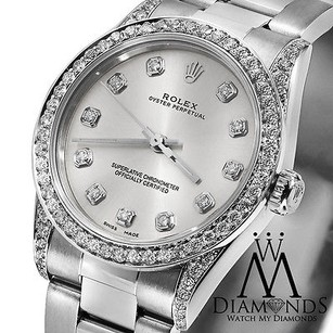 Rolex Diamond Ladies Rolex No-date 67480 Mid-size 31mm Watch Silver Diamond Dial