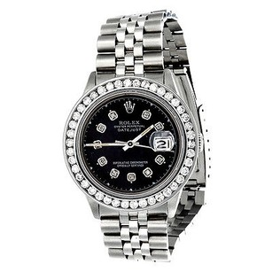 Rolex Diamond Rolex Datejust Jubilee Watch Mens 36mm Stainless Steel Black Dial Ct.