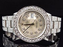 Rolex Full Iced Mens Rolex Mm Datejust Oyster Stainless Steel Diamond Watch 17.5 Ct