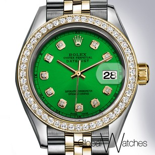 Rolex Green Rolex 26mm Ladies Datejust 18K Yellow Gold _ Stainless Steel Jub