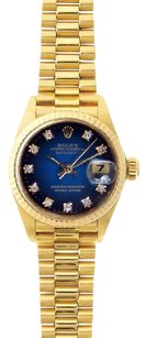 Rolex Ladies 18k Yellow Gold DateJust President Blue Diamond Watch 69178