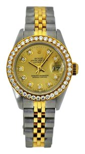 Rolex Ladies DateJust 26mm 18kt Gold Steel Two Tone Champange Diamond Dial Bezel 1.00 Carat