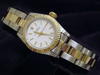 Rolex Ladies Rolex 2tone 18k Goldstainless Steel Oyster Perpetual Wwhite Dial 67193