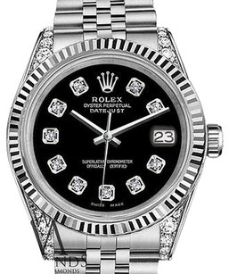 Rolex Ladies Rolex 31mm Datejust Stainless Steel Black Dial With Diamond