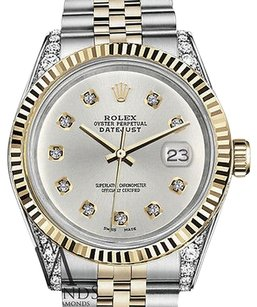 Rolex Ladies Rolex 31mm Datejust Two Tone Silver Dial With Round Diamond
