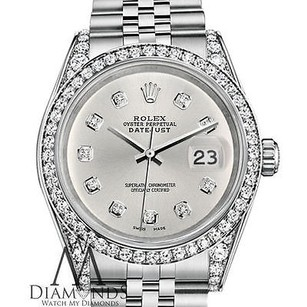 Rolex Ladies Rolex Datejust 26mm Stainless Steel Silver Color Diamond Dial Watch