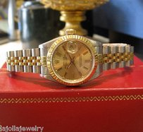 Rolex Ladies Rolex Datejust Yellow Gold Stainless Steel Watch With Gold Dial