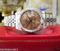 Rolex Ladies Rolex Oyster Perpetual Datejust 18k White Gold Steel Salmon Dial Watch