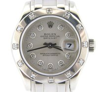 Rolex Ladies Rolex Solid 18k White Gold Datejust Pearlmaster Silver Diamond 80319