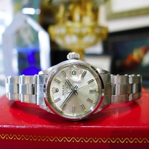 Rolex Ladies Vintage Rolex Oyster Perpetual Date 6516 Stainless Steel Watch Circa 1969
