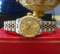 Rolex Ladies Vintage Rolex Oyster Perpetual Datejust Stainless Steel Yellow Gold Watch