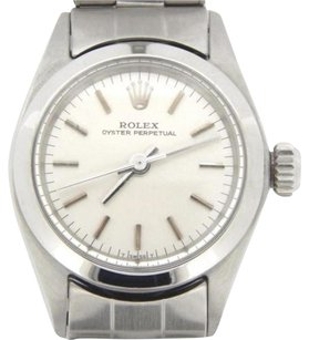 Rolex Lady Rolex Stainless Steel Oyster Perpetual No-date Silver Woriginal Band 6618