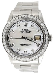 Rolex Mens,Rolex,Diamond,Watch,36,Mm,Datejust,Oyster,Stainless,Steel,White,Dial,3,Ct.