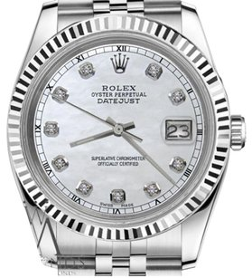Rolex Man`s 36mm Datejust White MOP Mother of Pearl Diamond Dial Watch