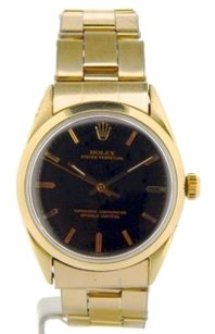 Rolex Men Rolex 14k Yellow Gold Shell Oyster Perpetual No-date Watch Wblack Dial 1024