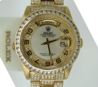 Rolex Men Rolex 18k Yellow Gold Day-date President White Mop Arabic Full Diamond 18238