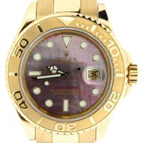 Rolex Men Rolex Solid 18k Yellow Gold Yacht-master Watch Tahitian Black Mop 40mm 16628