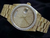 Rolex Men Rolex Solid 18kt 18k Yellow Gold Day-date Super President Pave Diamond 8.0ct