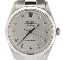 Rolex Men Rolex Stainless Steel Air-king No-date Watch Oyster Silver Diamond Dial 5500