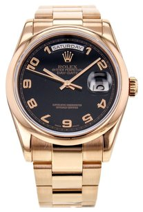 Rolex Men's Day-Date 118205 President Watch in 18K Rose Gold with Black Arabic Numeral Dial RLXGPR2