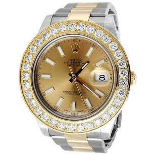 Rolex Mens Diamond Tone Rolex Datejust 18k Gold Stainless Steel 5.26ct 41mm Watch