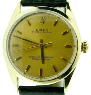 Rolex Mens Rolex 14k Gold Shell Oyster Perpetual No-date Watch Champagne Black 1025