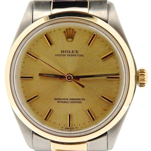Rolex Mens Rolex 14k Yellow Goldstainless Steel Oyster Perpetual Watch Champagne 1002