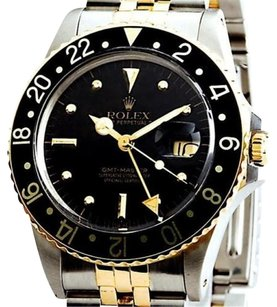 Rolex Mens Rolex 18k Yellow Goldstainless Steel Gmt-master Jubilee Black Nipple 16753