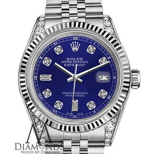 Rolex Mens Rolex 36mm Datejust Blue Color Dial With Diamond Accent Watch