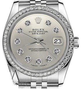 Rolex Mens Rolex 36mm Datejust Stainless Steel Silver Color Diamond Dial