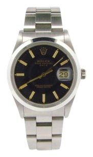 Rolex Mens Rolex Date Stainless Steel Watch Wblack Dial Ouickset 15000