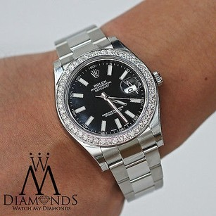 Rolex Mens Rolex Datejust Ii Black 41mm Automatic Watch Diamond Bezel 116300
