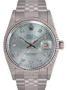 Rolex Mens Rolex Datejust SS-Ice Blue Diamond Dial-Fluted White Gold Bezel