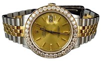 Rolex Mens Rolex Datejust Tone 36mm 18k Stainless Steel Gold Diamond Watch Ct