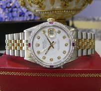 Rolex Mens Rolex Oyster Perpetual Datejust Diamonds Gold And Stainless Steel Watch