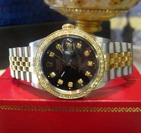 Rolex Mens Rolex Oyster Perpetual Datejust Diamonds Yellow Gold Ssteel Black Face