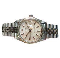 Rolex Mens Rolex Oyster Perpetual Datejust Stainless Steel Watch With White Gold Bezel